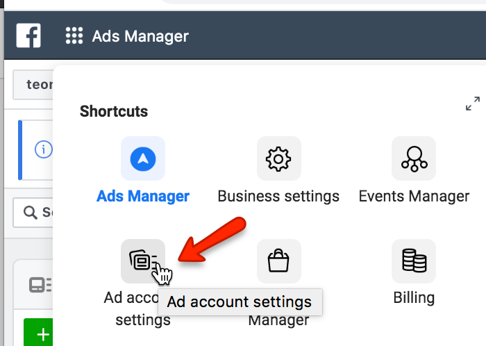 ad account settings in facebook ads