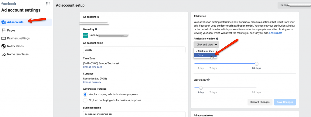 change attribution window in facebook ads