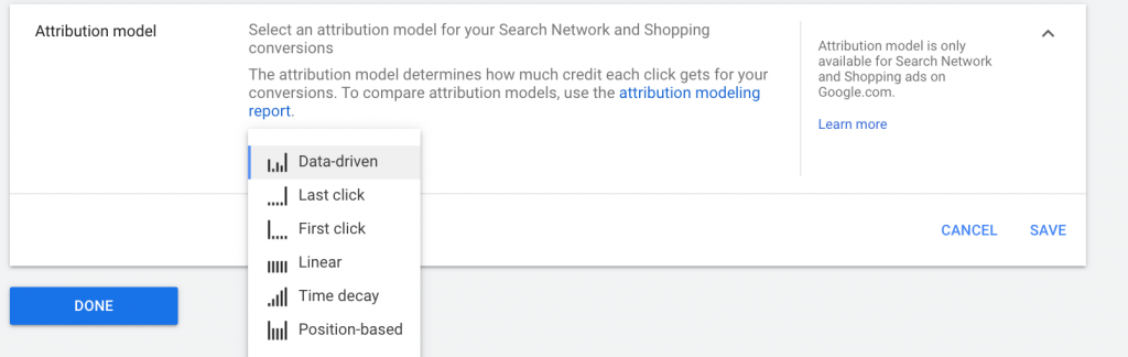 attribution model google ads